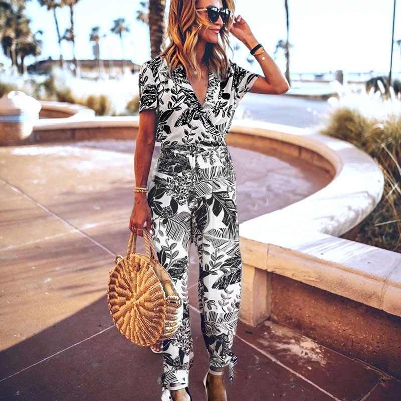 Sexy short Sleeve long rompers womens jumpsuit summer woman bodysuit trousers beach floral pants coveralls playsuit female frock
