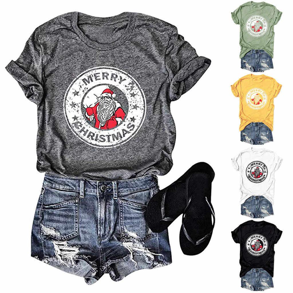 Boże narodzenie santa list drukuj T koszula kobiety lato z krótkim rękawem Tshirt Casual plaża styl tunika damska topy Camiseta Mujer 12.11