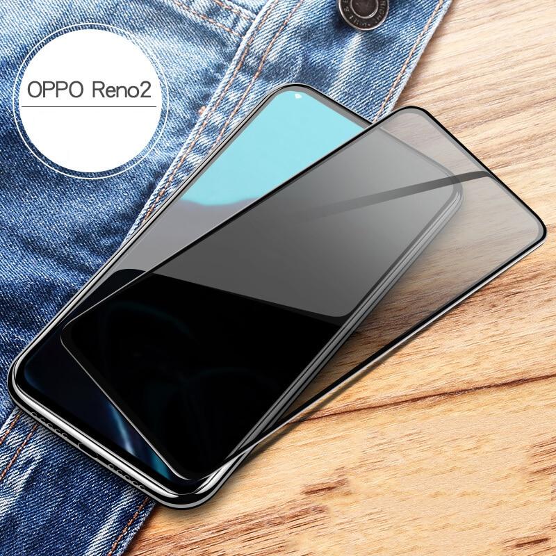 For OPPO Reno 2 Privacy Anti Spy Tempered Glass Screen Protector For OPPO Reno2 Full Cover Black Edge Anti-Spy 6.5 Inch Glass