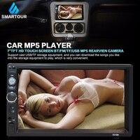 Smartour 2 Din Auto Radio 7 Bluetooth Stereo Lettore Multimediale Autoradio MP3 MP5 Touch Screen camera vista posteriore