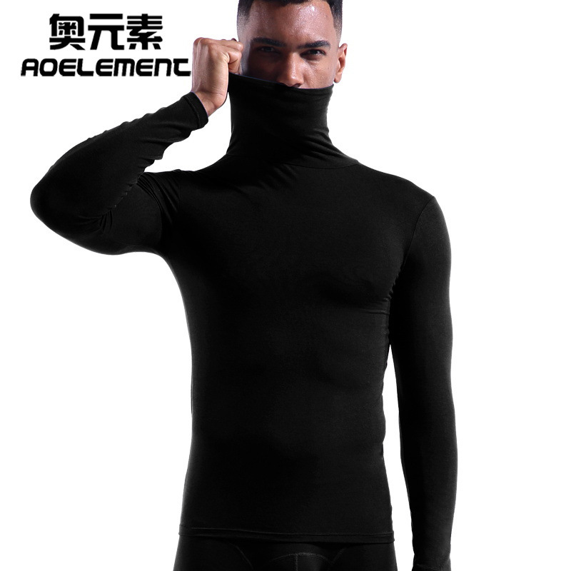 High Collar Neck Modal Shirt High Collar Men's Warm Autumn Clothes Winter Long Sleeve Thin Tight Bottoming Shirt Solid Color