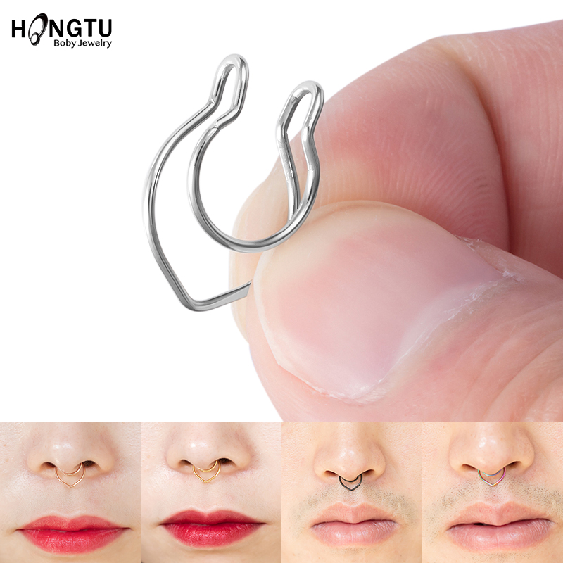 1-6Pcs V-Shaped Fake Piercing Fake Nose Ring Non Pierced Septum Rings Clip Surgical Steel Nose Piercing Jewelry for Women Men