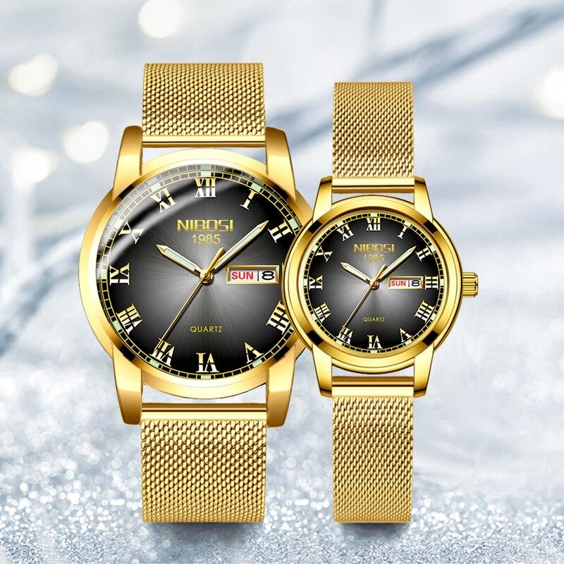 NIBOS Women Watch Men Couple Watches Luxury Brand Steel Band Classic Fashion Analog Wristwatch  Relogio Feminino