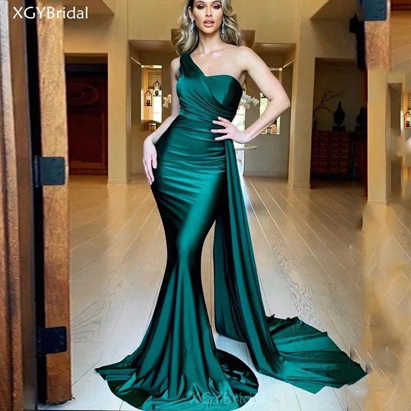 New One Shoulder Evening Dress 2021 Simple Satin Pleats Prom Gowns Mermaid Formal Women Party Dresses Vestidos de Fiesta