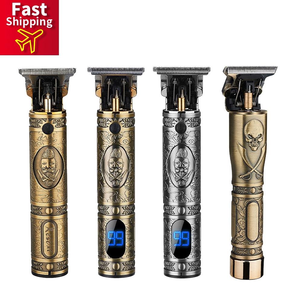 T9 USB перезаряжаемая машинка для стрижки волос, электрический триммер для волос, Беспроводная Бритва, триммер, 1 мм, Мужская Парикмахерская Ма...