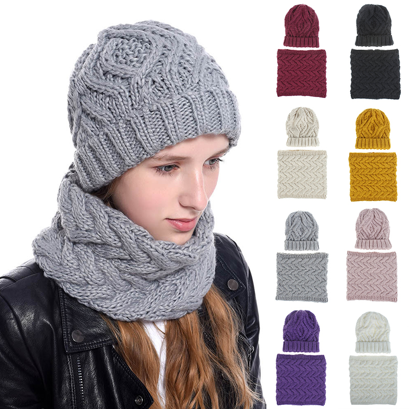 Women New Winter Solid Knitted Scarf Set Neck Beanie Hat Easy Scarves Cotton Warm Plus Fur Cap Collars Scarf Ladies White Yellow