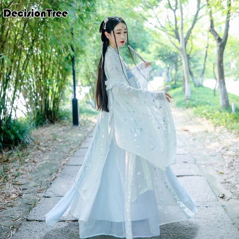 2020 Womens Hanfu Coat Loose Costume Traditional Chinese Fairy Costumes Quality Chiffon Print Ancient Princess Coat Cosplay