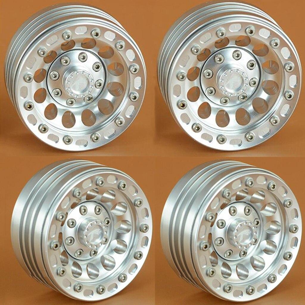 4 pièces 1.9 pouces jantes en aluminium pour 110 RC chenille axiale SCX10 90046 Traxxas TRX4 D90 D110, argent
