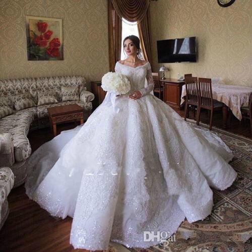 Luxe 2020 robes De mariée hors De l'épaule à manches longues perles scintillantes paillettes robes De mariée Court Train Vestido De Novia