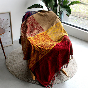 Image 3 - 5 colors Colorful Bohemian Chenille Plaids Blanket Sofa Decorative Throws on Sofa/Bed large Cobertor Blanket With Tassel T176