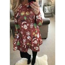 New Women Fashion Christmas Family Parent-child Xmas Long Sleeve Santa Outfit Christmas Swing Flared Dress Swing Flared Dress long sleeve elk print christmas mini swing dress