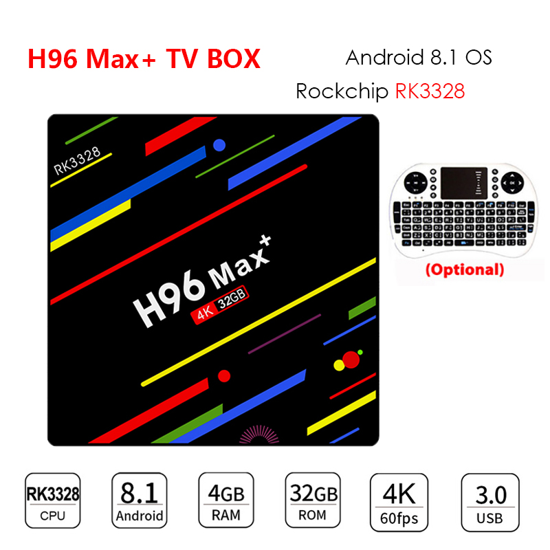 ТВ-приставка H96 MAX Plus с Android 8,1, ТВ-приставка RK3328, 4 Гб, 32 ГБ/64 Гб ПЗУ, Wi-Fi, 4 k, H.265, 3 ГБ, 32 ГБ