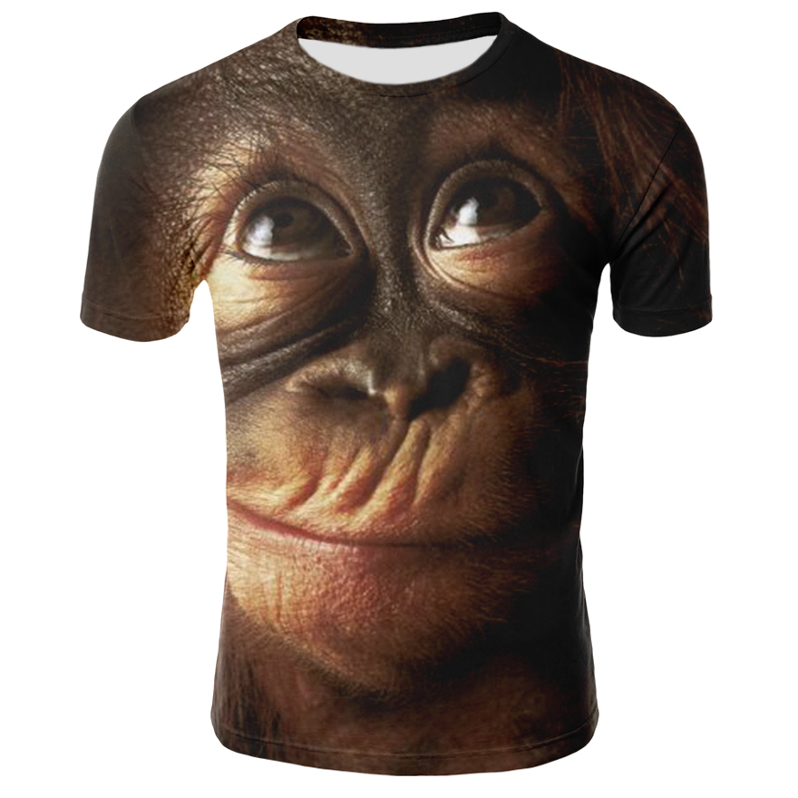 Newest Animal 3D T Shirt Monkey Short Sleeve Male Summer Tops Tees 3D Orangutan T Shirt For Men Clothing