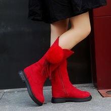 Зимние детские ботинки; Обувь для девочек; Однотонные длинные