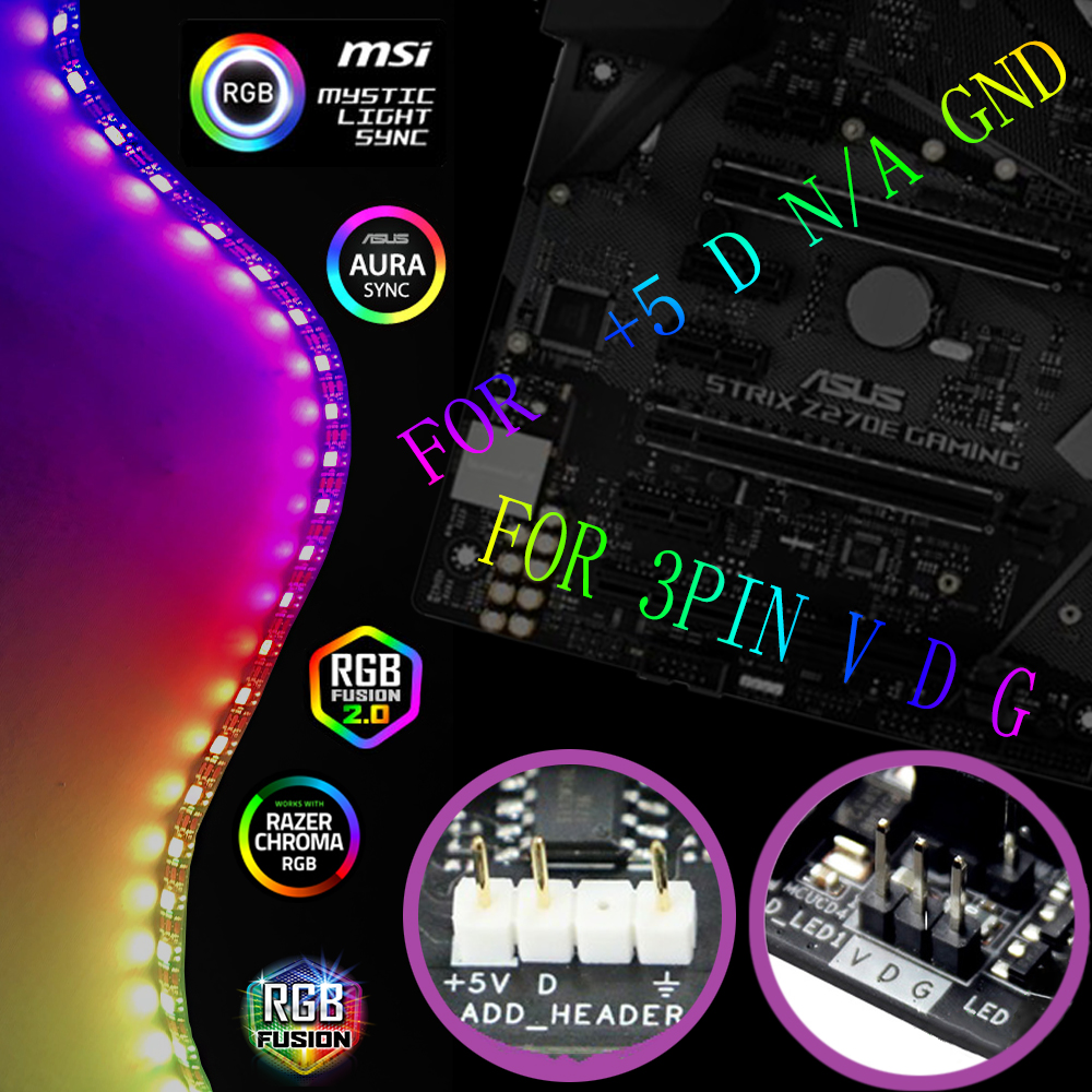 WS2812b RGB LED Strip For ASUS AURA SYNC / MSI Mystic Light Sync / GIGABYTE RGB Fusion 2.0 Motherboard /PC Computer  Led Strip