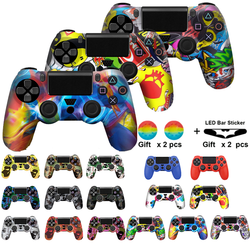 For PS4 Controller Gamepad Camo Silicone Cover Rubber Skin Grip Case Protective For Playstation 4 Joystick with led light bar(China)