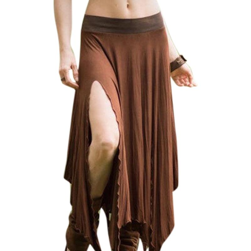 Brown Skirts For Women 2020 New  Side Split Skirt Ladies Solid Irregular Hem Back Waist Drawstring Faldas