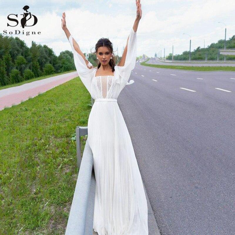 2020 Long Sleeve Wedding Dresses Beige A Line Chiffon Beach Wedding Dress Custom Made Bohemian Bridal Gowns vestidos de noiva