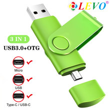 Pendrive para o tipo c telefone android 3 in1 otg usb flash drive 16gb 32gb pen drive 64gb 128gb memória vara usb3.0 flash