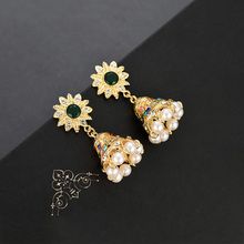 Women Vintage Golden Wind-bell Dangle Drop Earring Fashion Charm Jewelry Accessory  Exaggerated Indian Wind