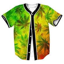 Hot 3D Baseball Shirt Men Unisex Print Leaves Tee Green Jersey T-Shirt Short Sleeve Casual Hip Hop