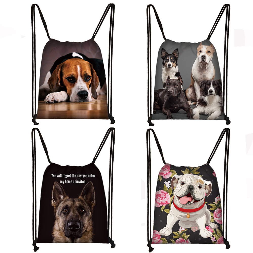 Dog German Shepherd / Beagle / Bulldog Print Drawstring Bag Puppy Women Men Fashion Storage Bag Ladies Shopping Bags Backpack