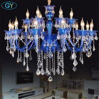 European Chandelier Blue Color Crystal Light Living Room Bedroom Light Clothing Shop Cafe KTV Lustres Chandelier fixture