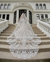 Luxury Cathedral Length Bridal Veils 3m Long Vestido De Noiva Longo Wedding Veil Ivory Or White Veil With Free Comb