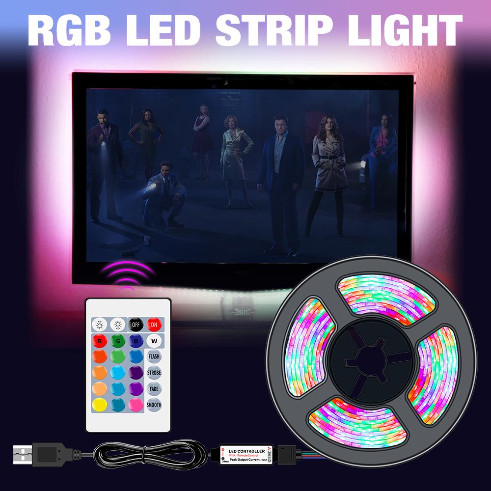 USB LED Strip Light RGB DC 5V SMD2835 Flexible Ribbon Fita Led TV Light 50CM 1M 2M 3M 4M 5M Tape RGBW Remote Control Neon Led