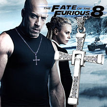 Fast and Furious Movies Cross Necklace Men's Chain Dominic Toretto Stainless Steel Jewelry Rhinestones Gold Necklace Accesories