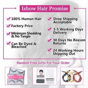 Image 5 - Ishow saç hint İnsan saç su dalgası demetleri satın 3 veya 4 adet insan saç demetleri olsun güzel hediyeler doğal renk saç örgü demetleri