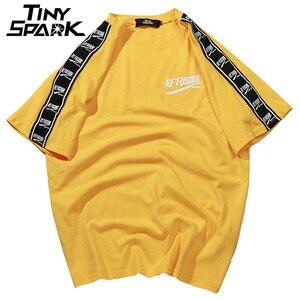 Image 1 - 2020 קיץ היפ הופ גברים Harajuku סרט הדפסת חולצה קצר שרוול פס Tshirts Streetwear חדש מקרית למעלה Tees כותנה