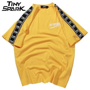 Image 1 - 2020 여름 힙합 T 셔츠 남성 하라주쿠 리본 T 셔츠 프린트 반소매 스트라이프 티셔츠 Streetwear New Casual Top Tees Cotton