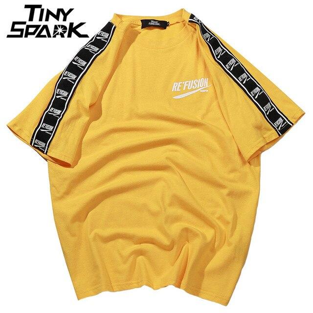 2020 여름 힙합 T 셔츠 남성 하라주쿠 리본 T 셔츠 프린트 반소매 스트라이프 티셔츠 Streetwear New Casual Top Tees Cotton