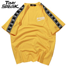T Shirt dété et Hip Hop pour homme, Streetwear à manches courtes à rayures, ruban imprimé Harajuku, 2020 coton, nouvelle collection décontracté