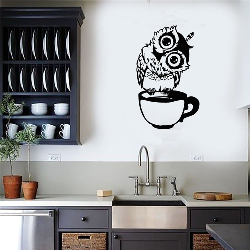 Cartoon Owl Carved Wall Sticker Living Room Bedroom Kitchen Background Decorations Wallpaper Home Decor Mural Removable Stickers
