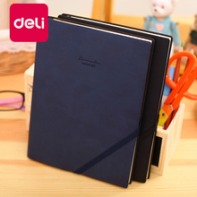 Deli 1PCS Leather PU Material 25K Business Notebook With Pen Insert Oblique Strap Note book notepad 96 Page 22215