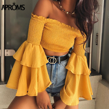 Aproms Sweet Ruffle Flare Sleeve Yellow Blouse Elegant Off Shoulder Streetwear Chiffon Shirt Women Fashion Crop Top Feamle Tees casual off the shoulder print flare sleeve blouse for women