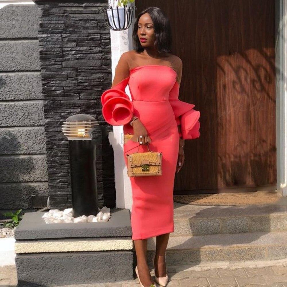 Elegant Strap Evening Dress Short Coral Satin Flare Long Sleeves Celebrity Dresses Red Carpet African Party Dress