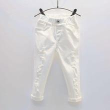 Baby Boy Witte Denim Jeans Broek Lente Herfst Kinderen Gescheurd Broek Kids Gebroken Broek Effen Peuter Leggings 2 7 Jaar