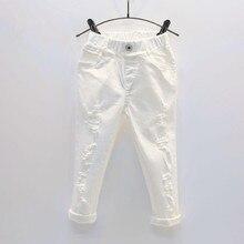 Pantaloni per Jeans in Denim bianco per neonato pantaloni strappati per bambini primavera autunno pantaloni per bambini rotti Leggings per bambini solidi 2 7 anni
