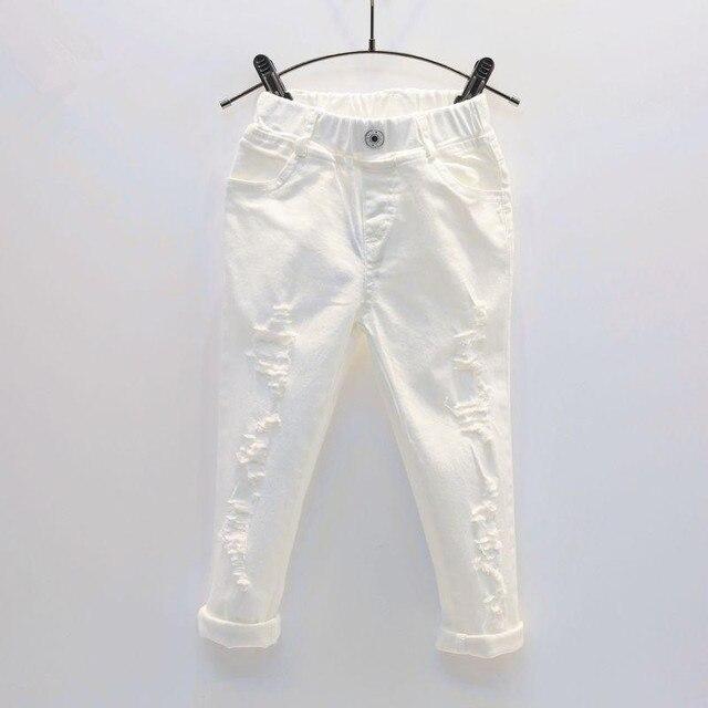 תינוק ילד לבן ג ינס ג ינס מכנסיים אביב סתיו ילדים Ripped מכנסיים ילדים שבור מכנסיים מוצק פעוט חותלות 2 7 שנים