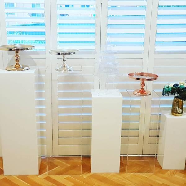 wedding : Clear Acrylic Plinth Stand metal Cylinder Pedestals flower dessert Display Platform  for Wedding baby shower kids Birthday Party