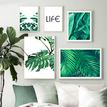 Green Plant Monstera Palm Banana Leaves Nordic Posters And Prints Wall Art Canvas Painting Wall Pictures For Living Room Decor wall art canvas painting fresh green monstera small plant leaves nordic posters and prints wall pictures for living room decor