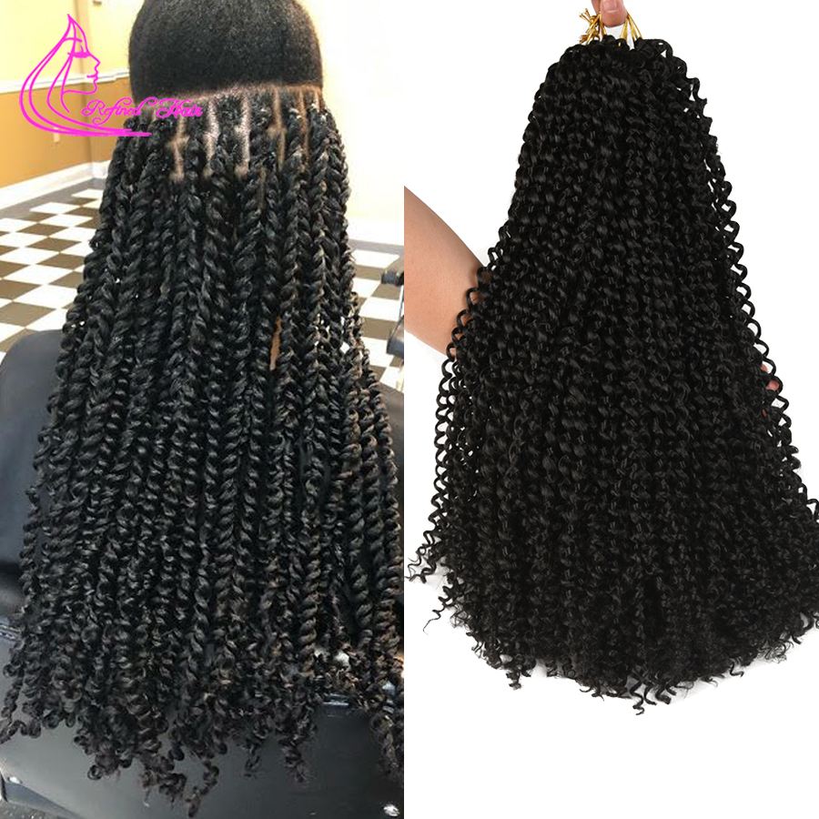Refined Spring Passion Twist Braids Long Black Brown Ombre Braiding Hair Extensions Crochet Synthetic Braid For Woman 22strands
