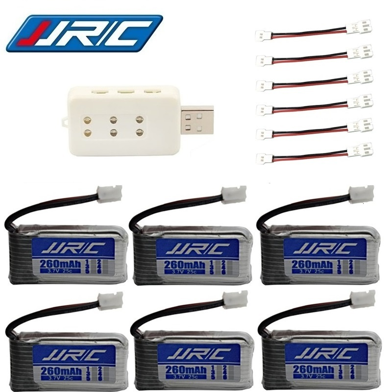 Original JJRC H36 battery 3.7V 260mAh For E010 E011 E012 E013 F36 3.7v Lipo Battery 6in1 UBS Charger RC Quadcopter Parts