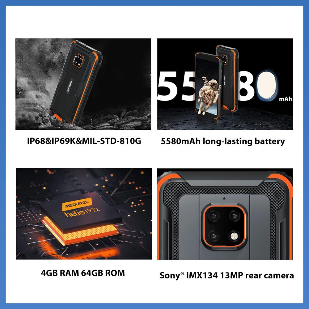 Blackview BV4900 Pro IP68 Rugged Phone 4GB 64GB Octa Core Android 10 Waterproof Mobile Phone 5580mAh NFC 5.7 inch 4G Cellphone