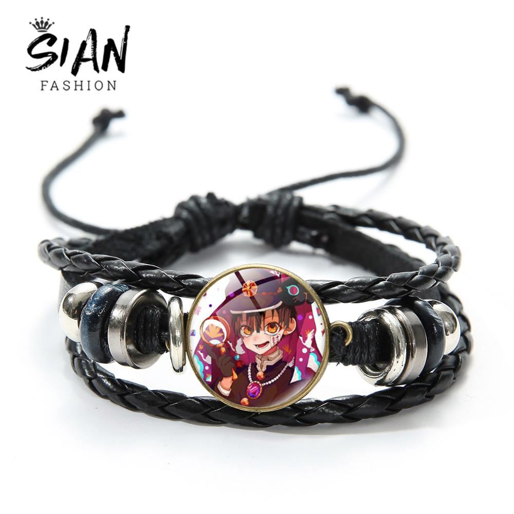 Sian hanako kun pulseiras de couro do plutônio japão anime toalete-bound cúpula de vidro feito à mão tecido pulseira de couro jóias punk