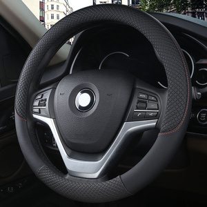 Black PU Leather Car Steering-wheel Cover Universal Diameter 38CM Car-styling Sport Auto Steering Wheel Covers Anti-Slip