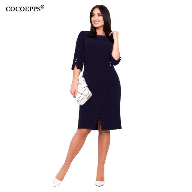 COCOEPPS Plus Size women dress Summer 5XL 6XL New Autumn Casual Office Lady vestidos Female Dresses Elegant Bodycon Party Dress 2